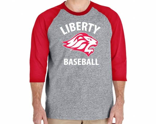 LIBERTY BASEBALL 3/4 RAGLAN SLEEVE 100% PRE-SHRUNK SHIRT  by PACER