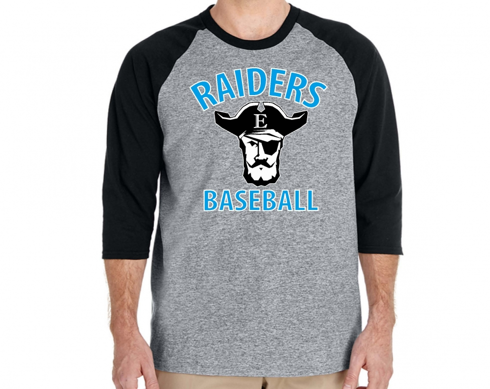 RAIDERS BASEBALL 3/4 RAGLAN SLEEVE 100% PRE-SHRUNK SHIRT  by PACER