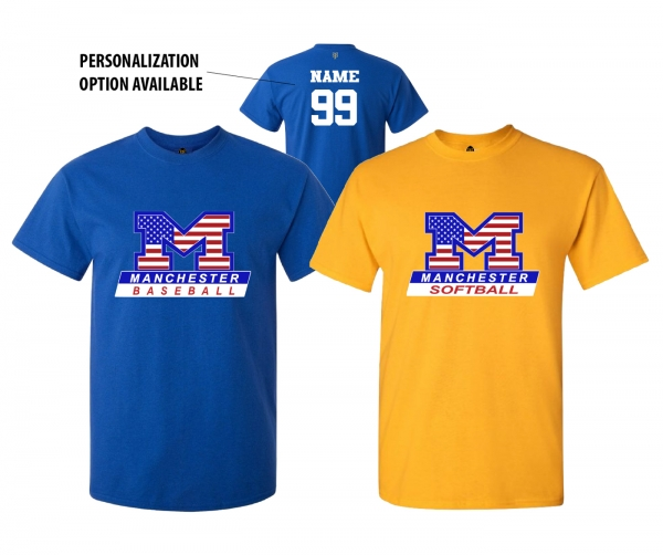 MANCHESTER LITTLE LEAGUE OFFICIAL STARS & STRIPES COLLECTION TEE'S by PACER