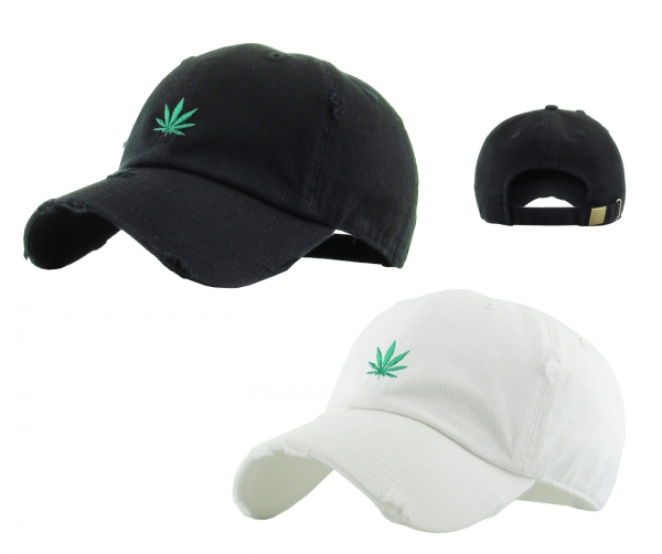 CANNABIS SATIVA DISTRESSED DAD HAT by Pacer