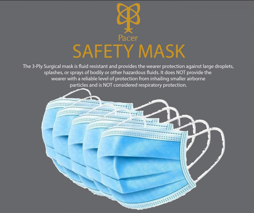 PACER SURGICAL SAFETY MASK 5-Pack