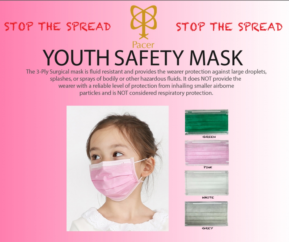 PACER YOUTH SURGICAL SAFETY MASK 5-Pack