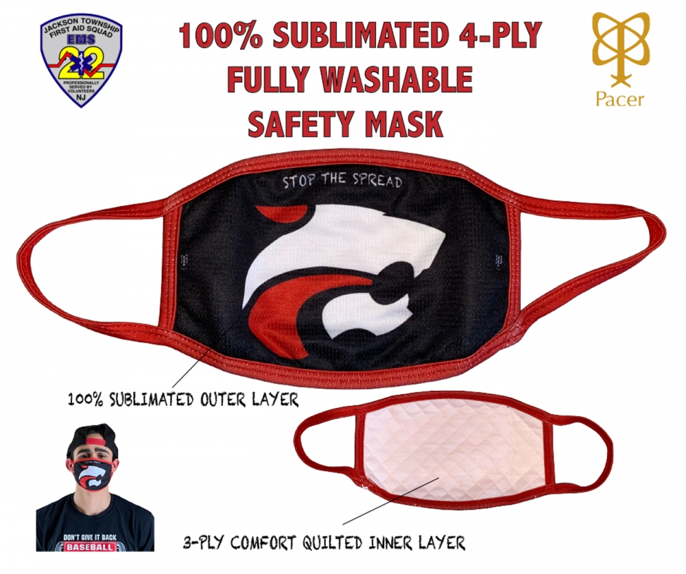 JAGUAR 100% SUBLIMATED 4-PLY WASHABLE SAFETY MASK by PACER