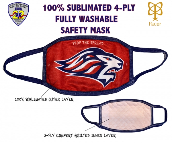 LIONS 100% SUBLIMATED 4-PLY WASHABLE SAFETY MASK by PACER