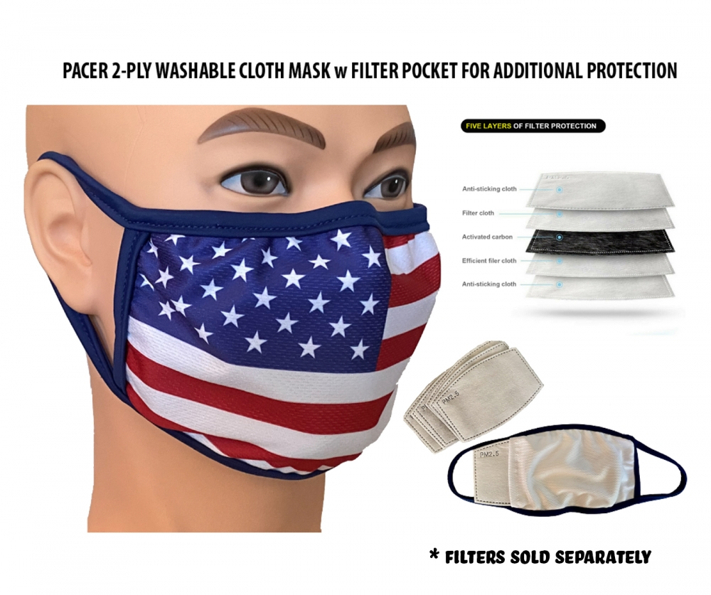 AMERICAN FLAG SUBLIMATED 2-PLY WASHABLE SAFETY MASK w FILTER SLEEVE by PACER