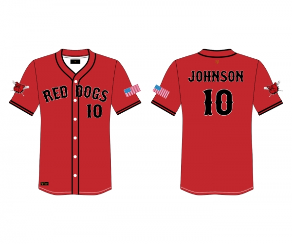 JACKSON RED DOGS 2020 OFFICIAL ON-FIELD PLAYERS JERSEY by PACER