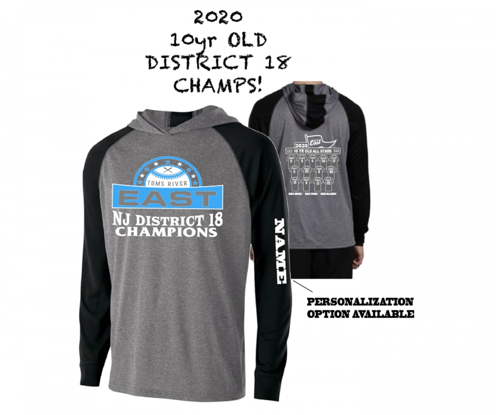2020 TRELL 10yr OLD DISTRICT 18 CHAMPS LIGHTWEIGHT PULL-OVER HOODIE SHIRTS by PACER