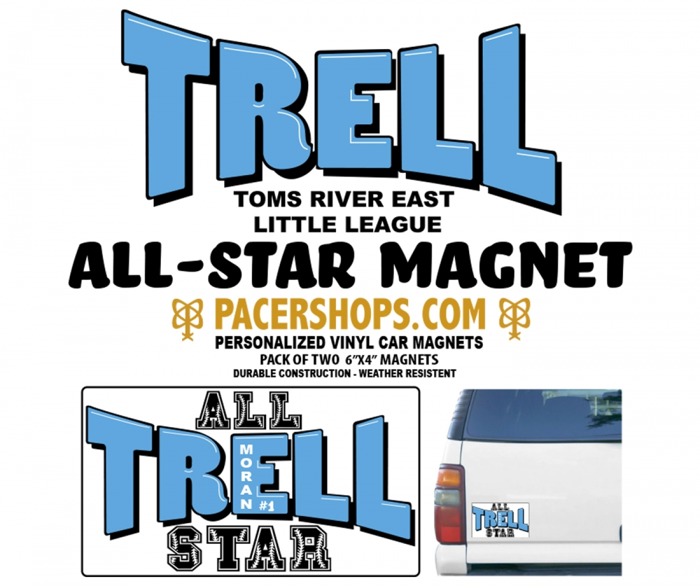 TRELL PERSONALIZED ALL-STAR VINYL CAR MAGNETS by PACER