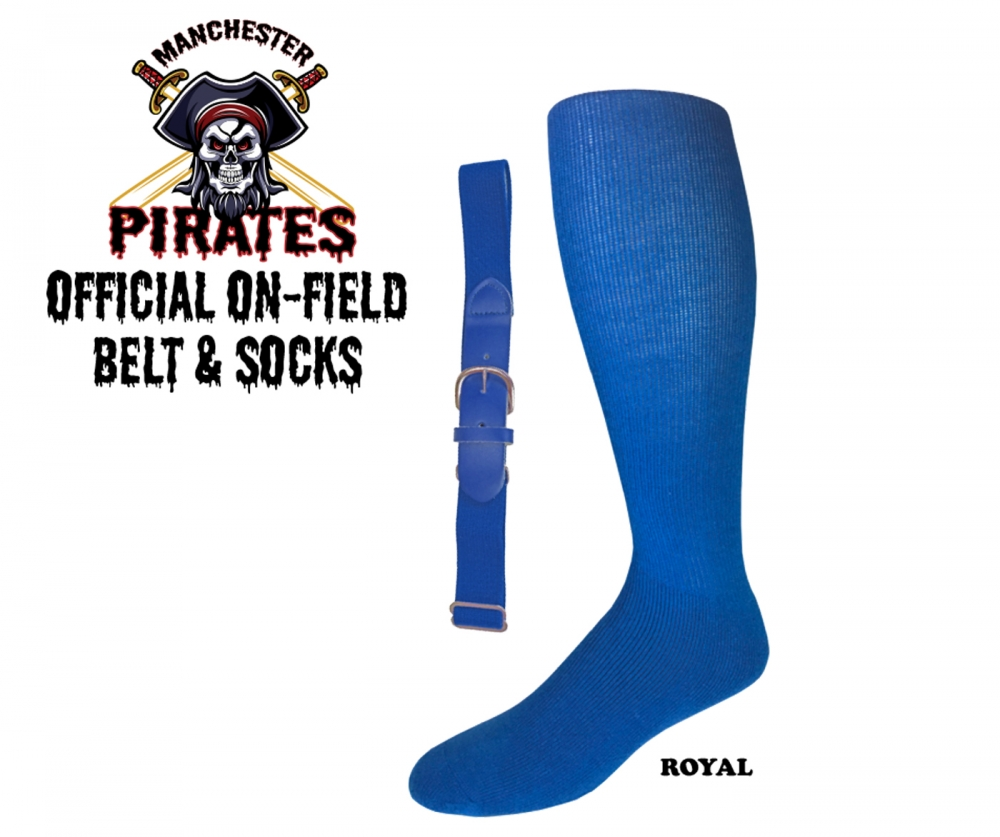 MANCHESTER PIRATES OFFICIAL ON-FIELD  BELT & SOCKS KIT by PACER