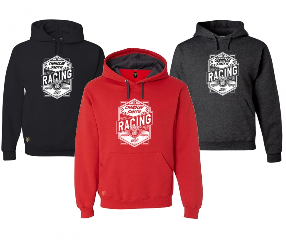 CHANDLER SMITH RACING OFFICIAL OIL LABEL FLEECE PULL OVER HOODIE by PACER
