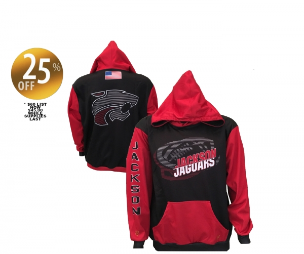 2017 JACKSON JAGUAR FOOTBALL SUBLIMATED POLY P LIGHTWEIGHT PERFORMANCE HOODIE by PACER
